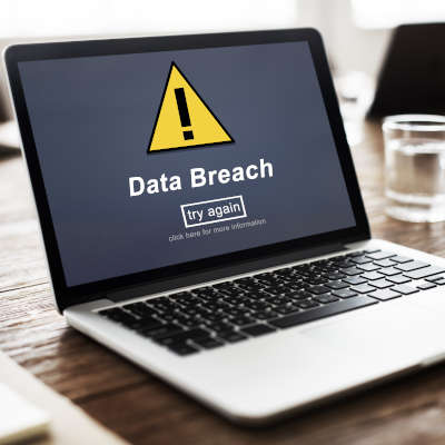 Computer with a data breach on it