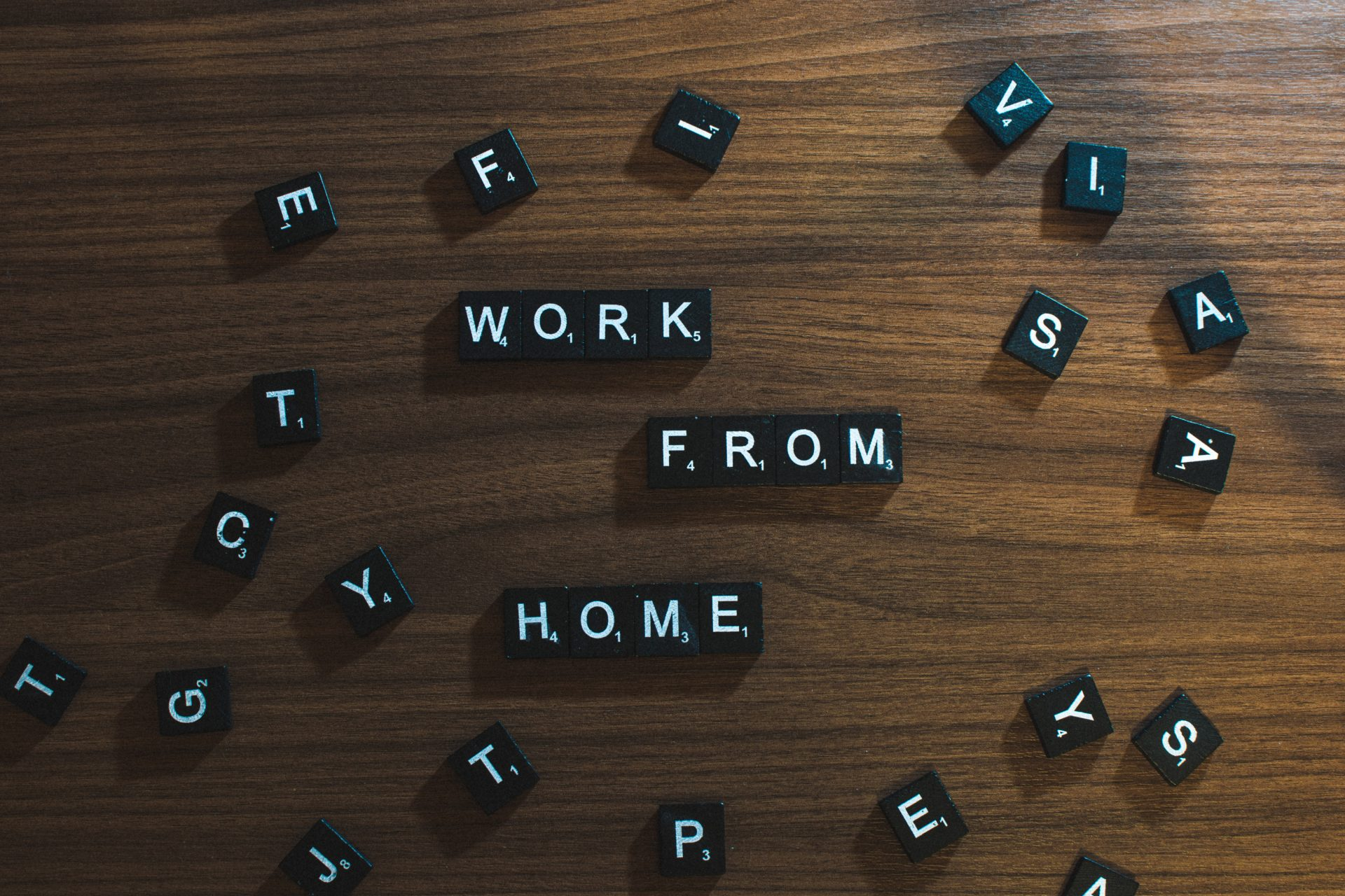 Scrabble pieces forming work from home on a desk